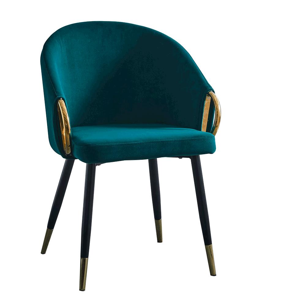 Dizajnové kreslo, smaragdová Velvet látka/gold chróm zlatý, DONKO