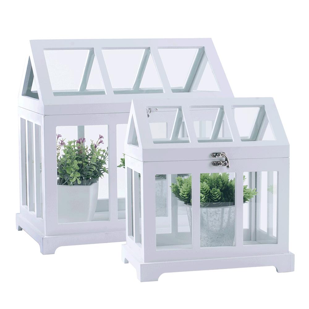 Mini üvegházak, 2 db-os szett, fehér, MAURI