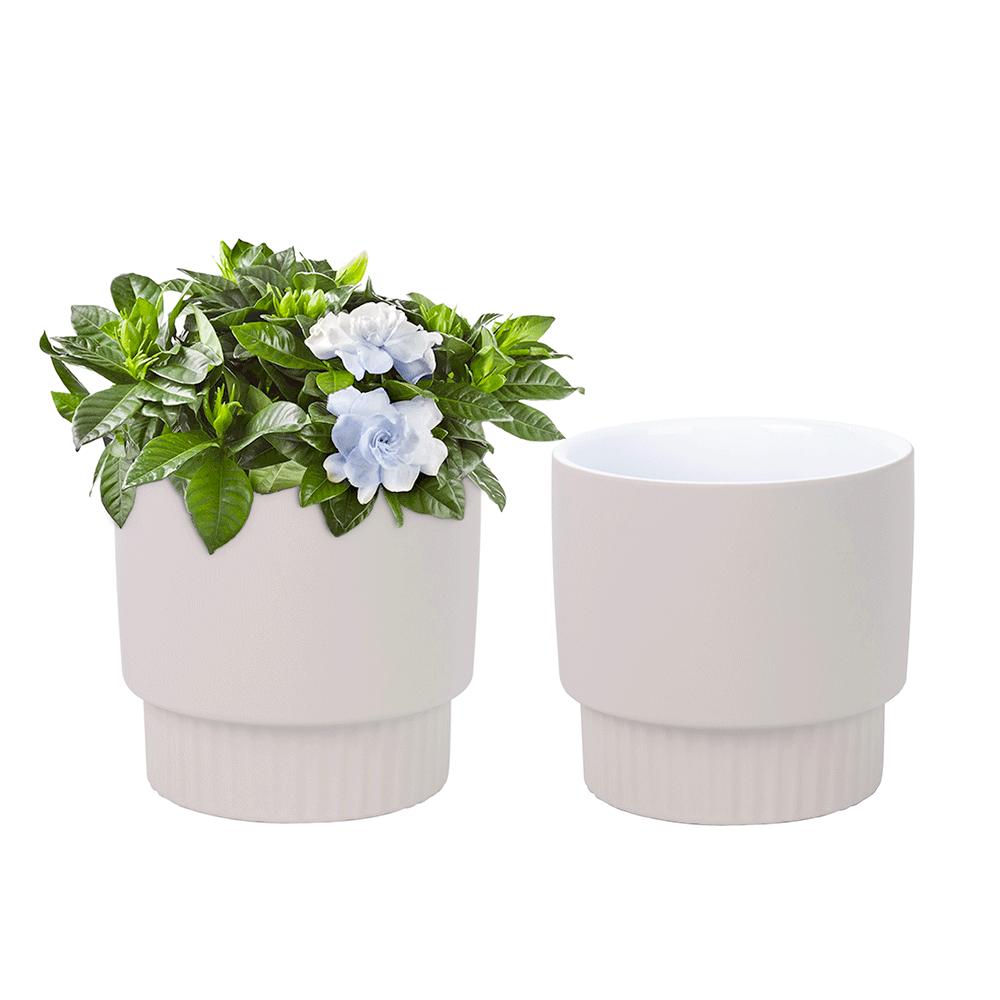 Ghivece de flori din ceramică, set de 2, bej, ABRIO