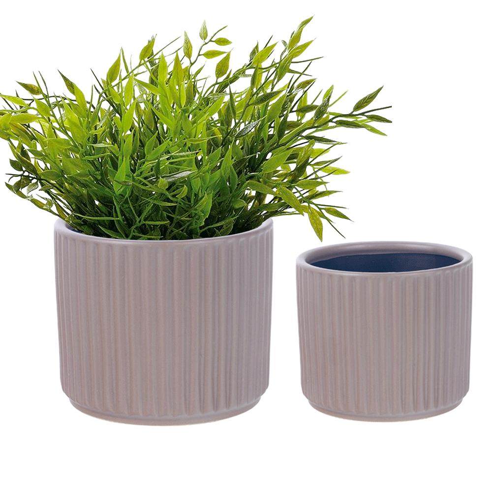 Ghivece de flori din ceramică, set de 2, maro mat, KELSO