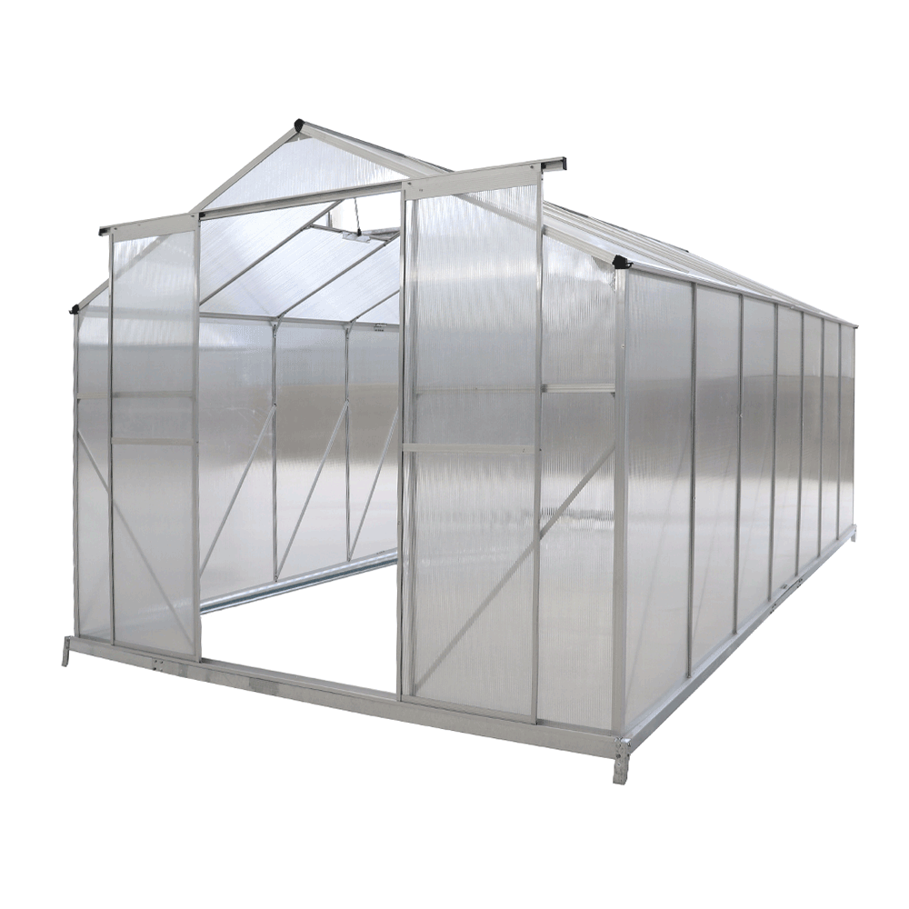 Kerti üvegház, polikarbonát, 252x432x195cm, KACEN TYP 6