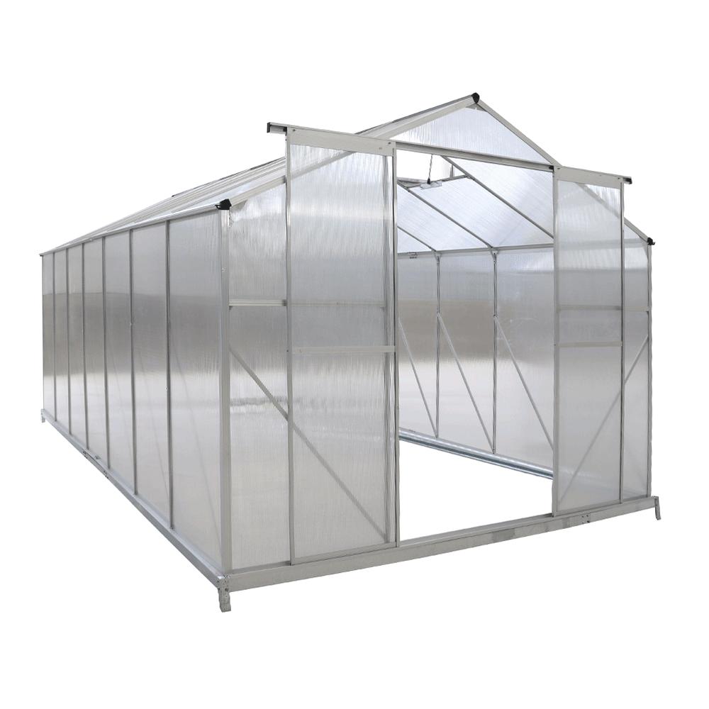 Kerti üvegház, polikarbonát, 252x496x195cm, KACEN TYP 7