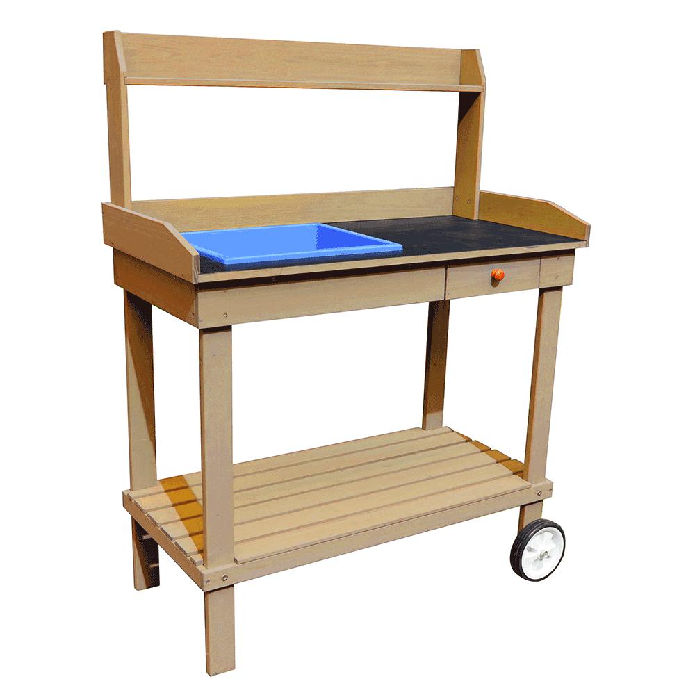 Záhradný pracovný stôl s umývadlom drevo/hnedá,  BARDY