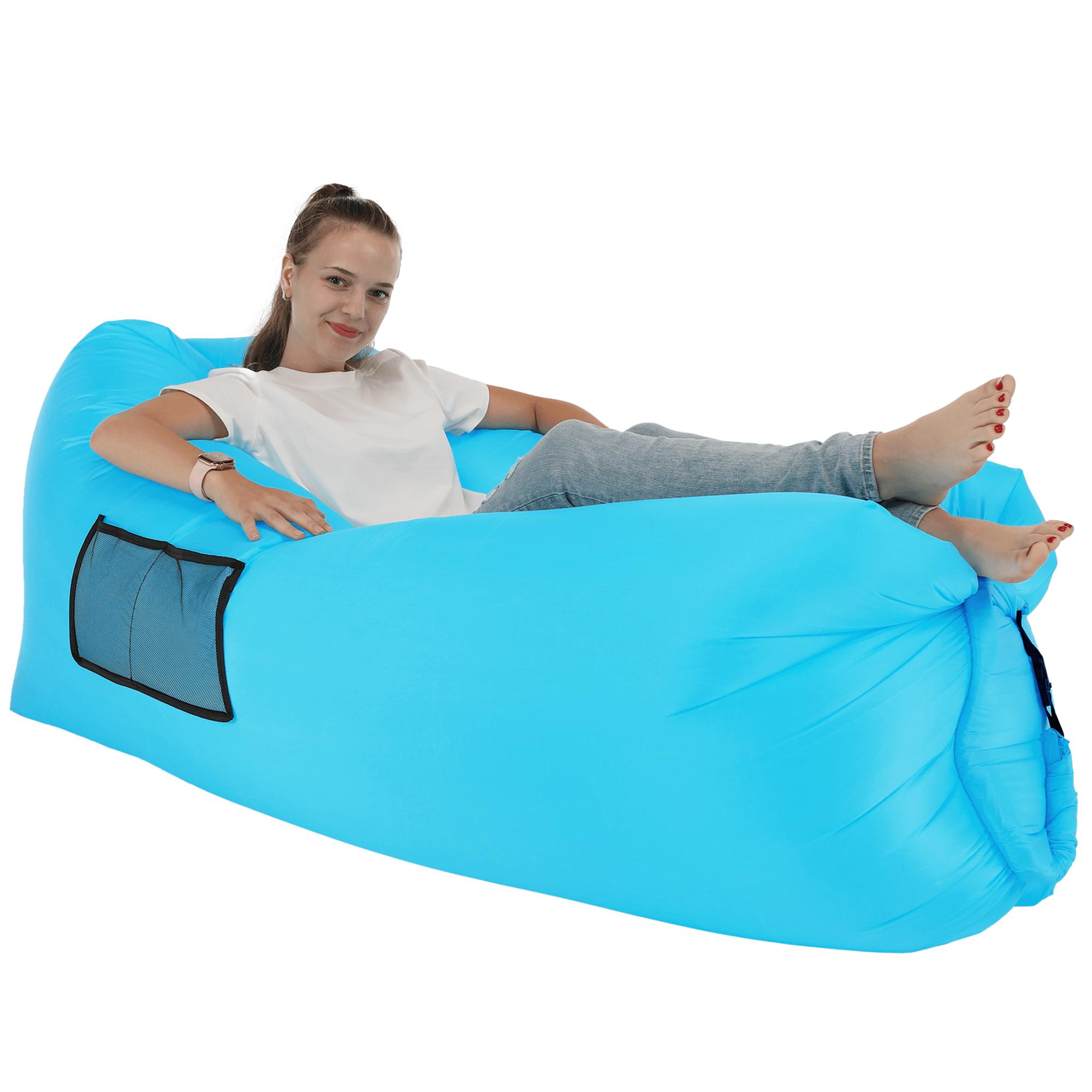 Nafukovací sedací vak/lazy bag, modrá, LEBAG