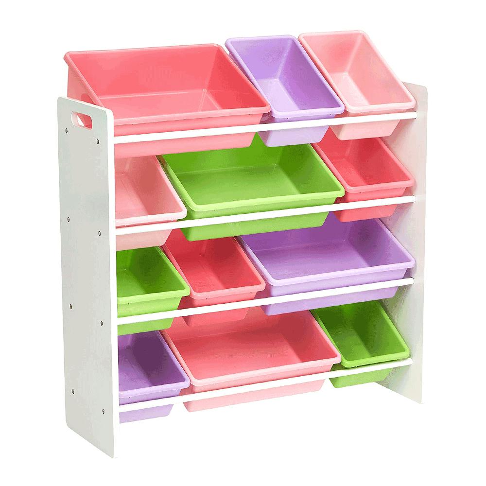 Organizér/regál na hračky, biela/viacfarebná, MAISAN