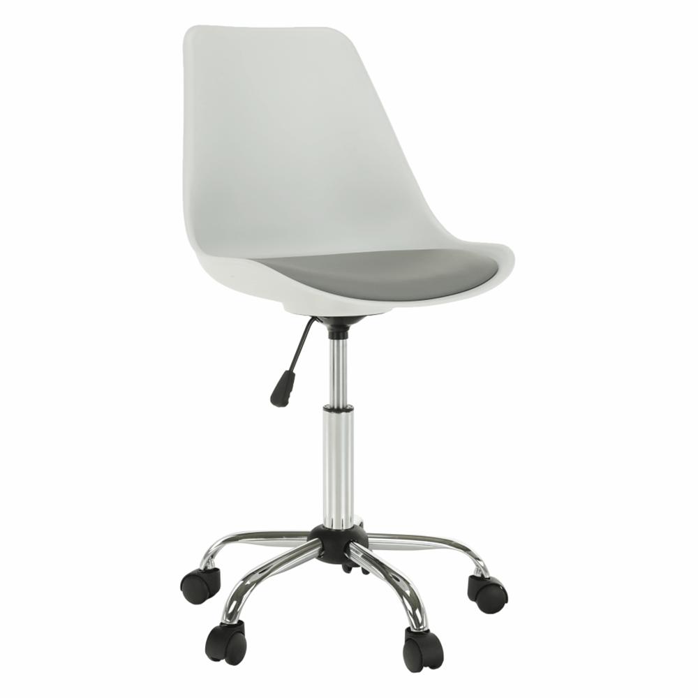 Kancelárska stolička, biela/sivá, DARISA NEW
