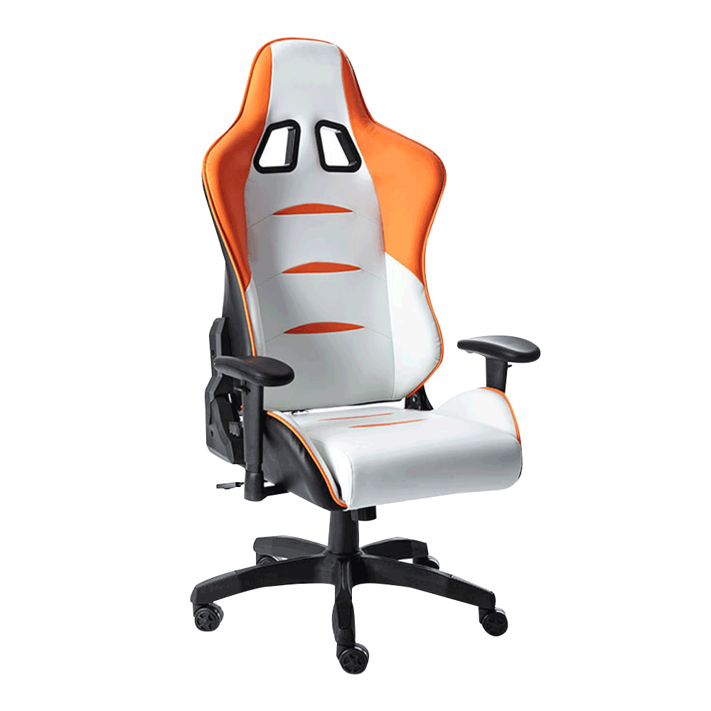 Scaun de birou / joc, alb / portocaliu / negru, ASKARE