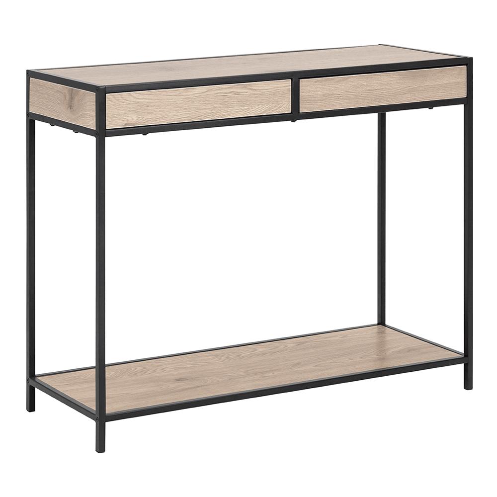 Konzolový stolík, dub/čierna, NARTAN