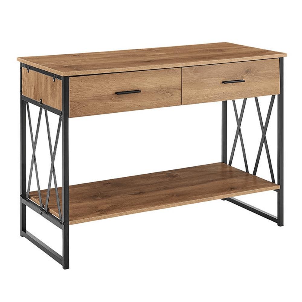 Konzolový stolík, dub/čierna, NEVAN