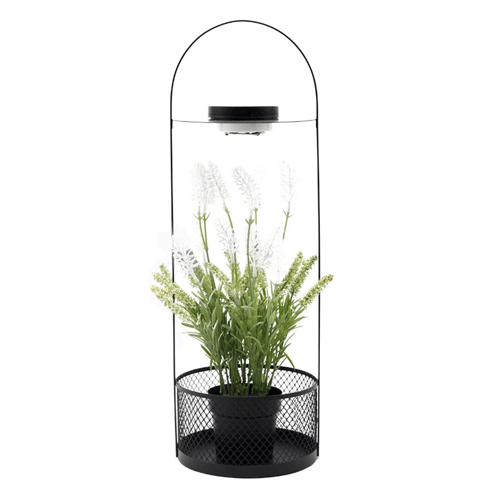 Suport decorativ cu ghiveci, iluminat cu LED, 50 cm, cu flori artificiale, VELOM TIP 1