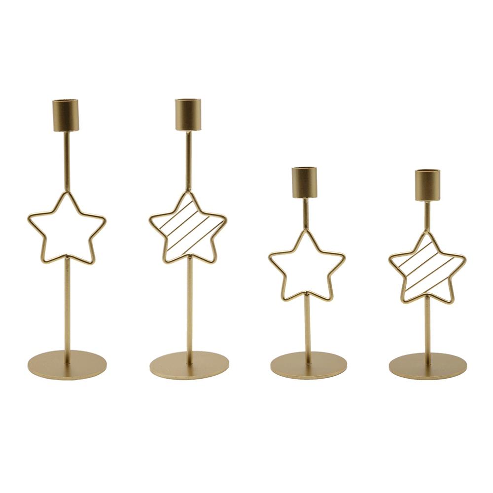 Sfeșnice metalice, set de 4, auriu, TONIL