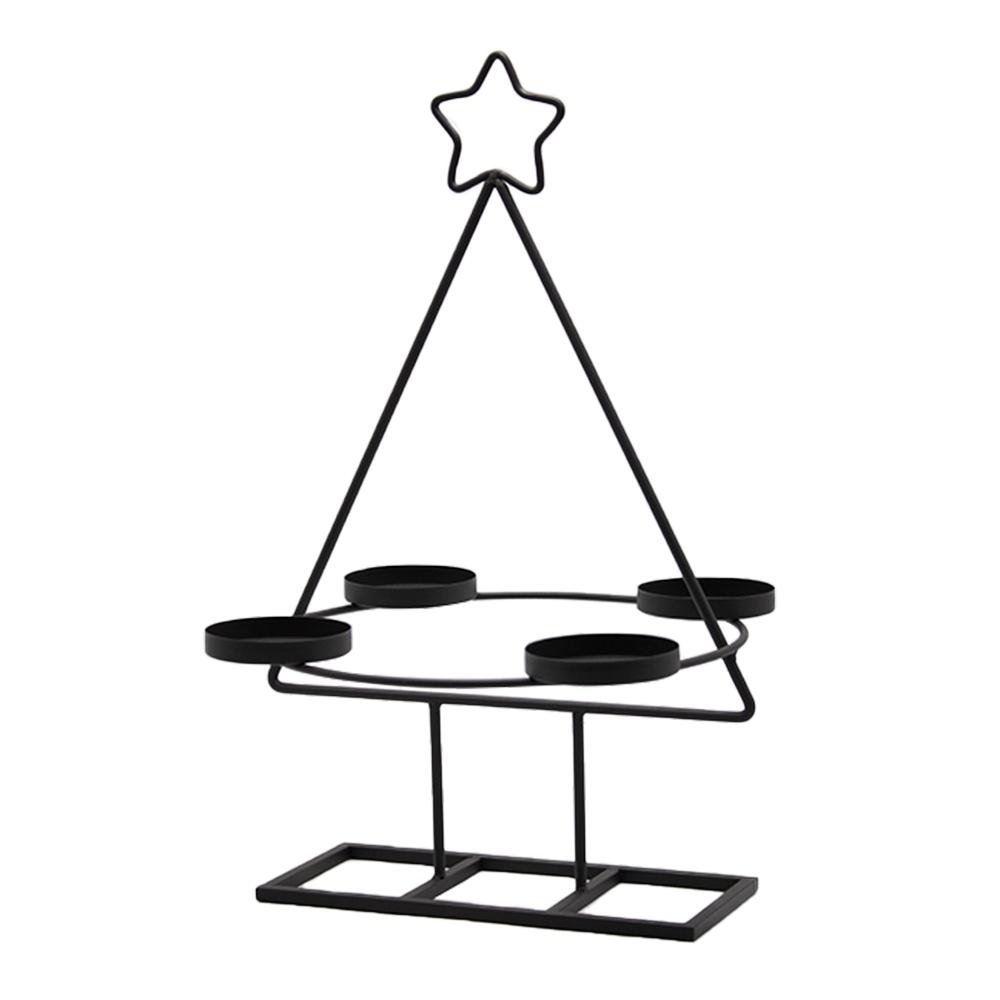 Coroană de Advent, neagră, metalică, BASIL