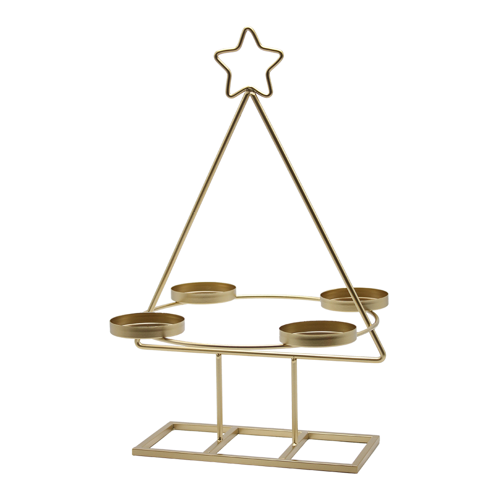 Coroană de Advent, aurie, metalică, BASIL