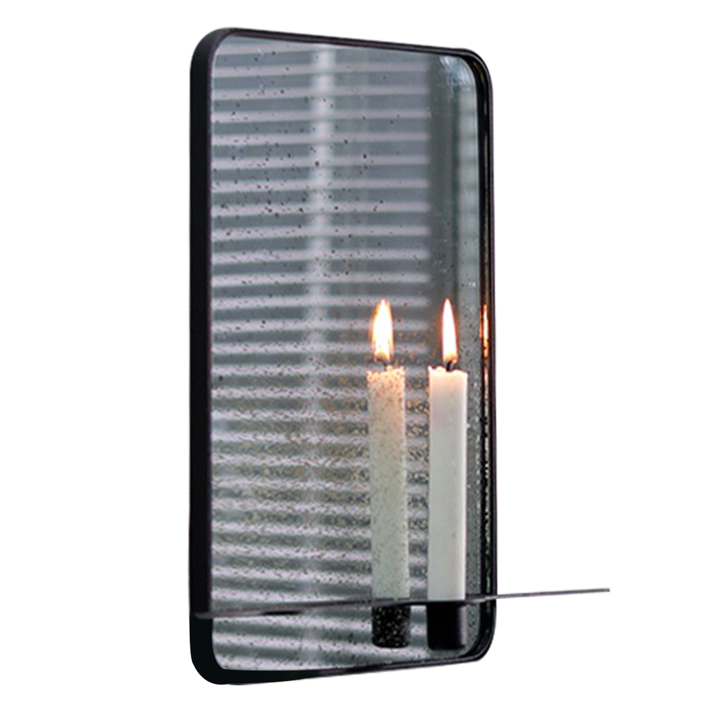 Oglindă cu suport pentru 2 lumânări, cadru metalic, FIVER