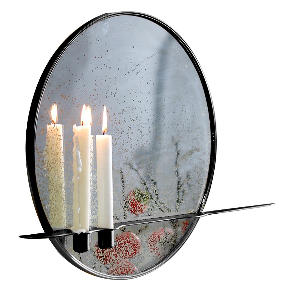 Oglindă cu suport pentru 2 lumânări, cadru metalic, HAREO TIP 1