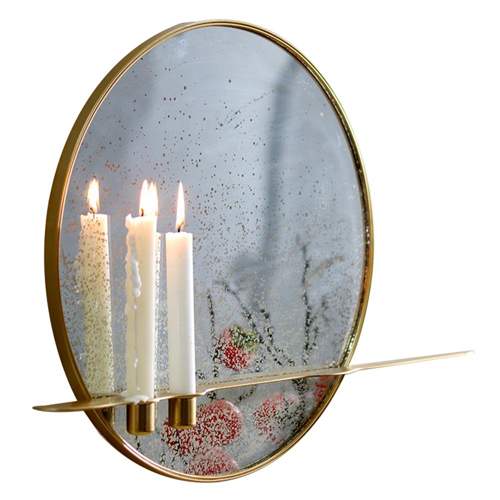 Oglindă cu suport pentru 2 lumânări, cadru metalic, HAREO TIP 2