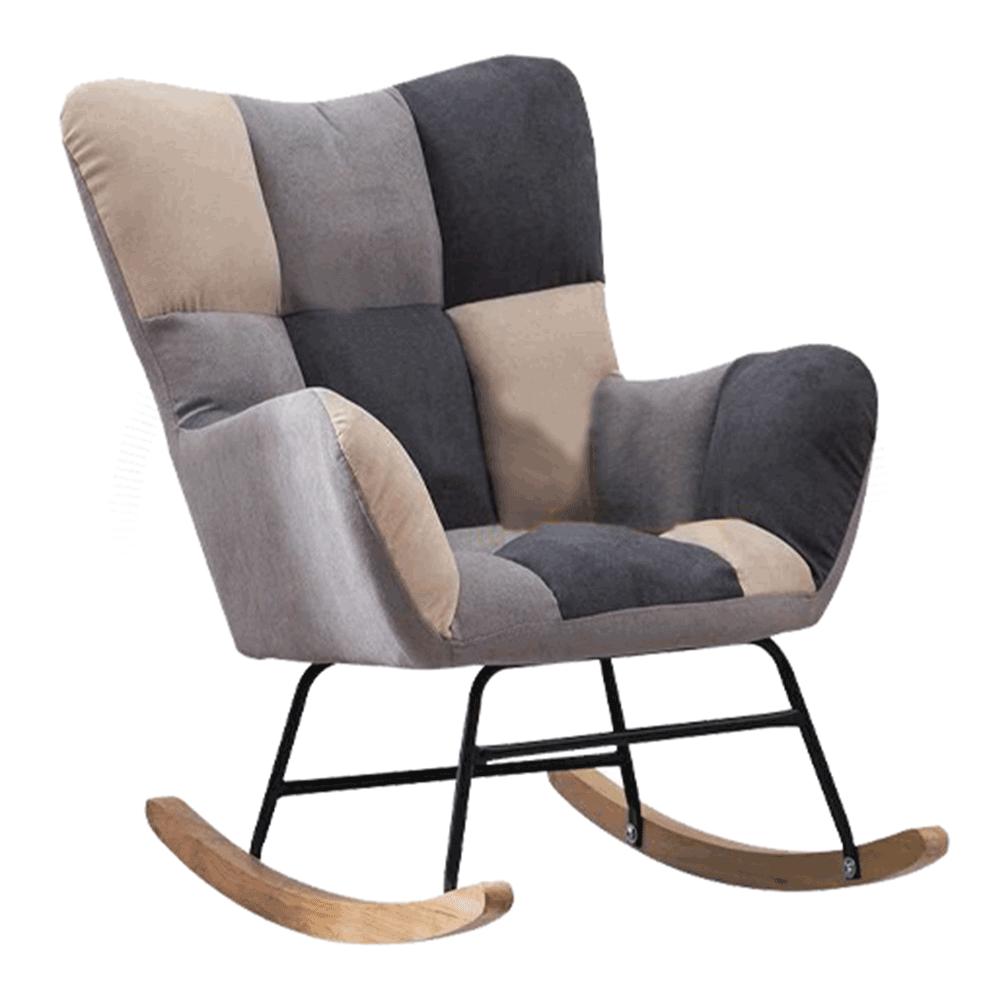 Designové houpací křeslo, patchwork šedá / béžová, KEMARO, TEMPO KONDELA
