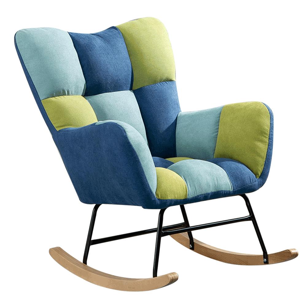 Designové houpací křeslo, patchwork modrá / zelená, KEMARO, TEMPO KONDELA