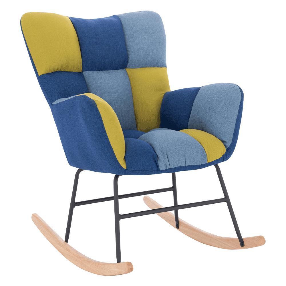 Scaun balansoar design, patchwork albastru / verde, KEMARO