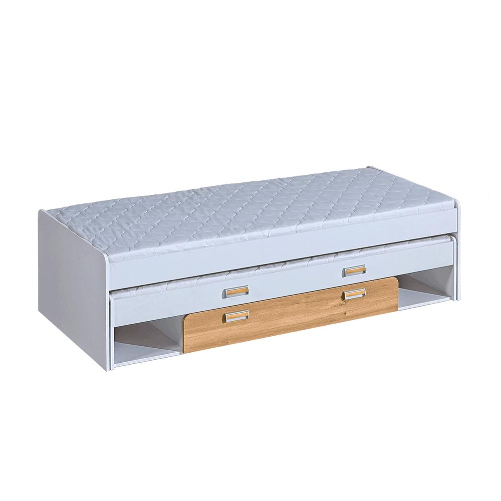 Ágy pótággyal, 200x80, fehér/tölgy nash , EGO L16