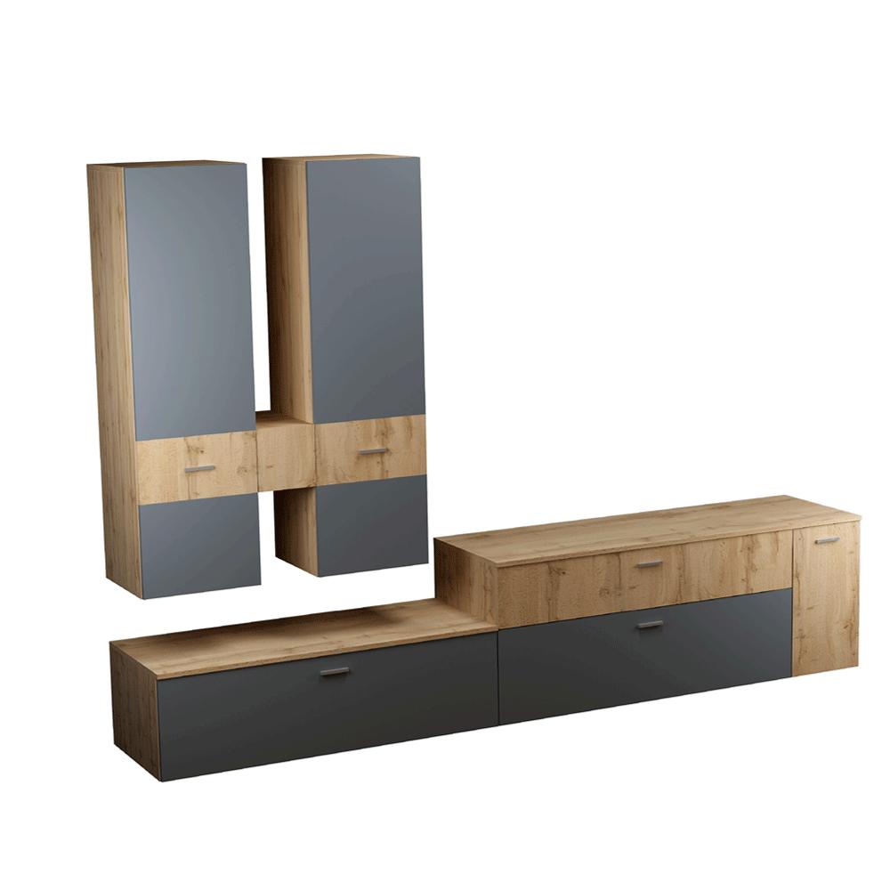 Obývacia stena, dub wotan/antracit, PLASMA