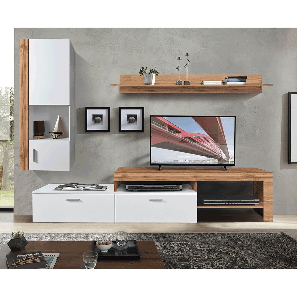 Obývacia stena, dub wotan/biela, ALUBA
