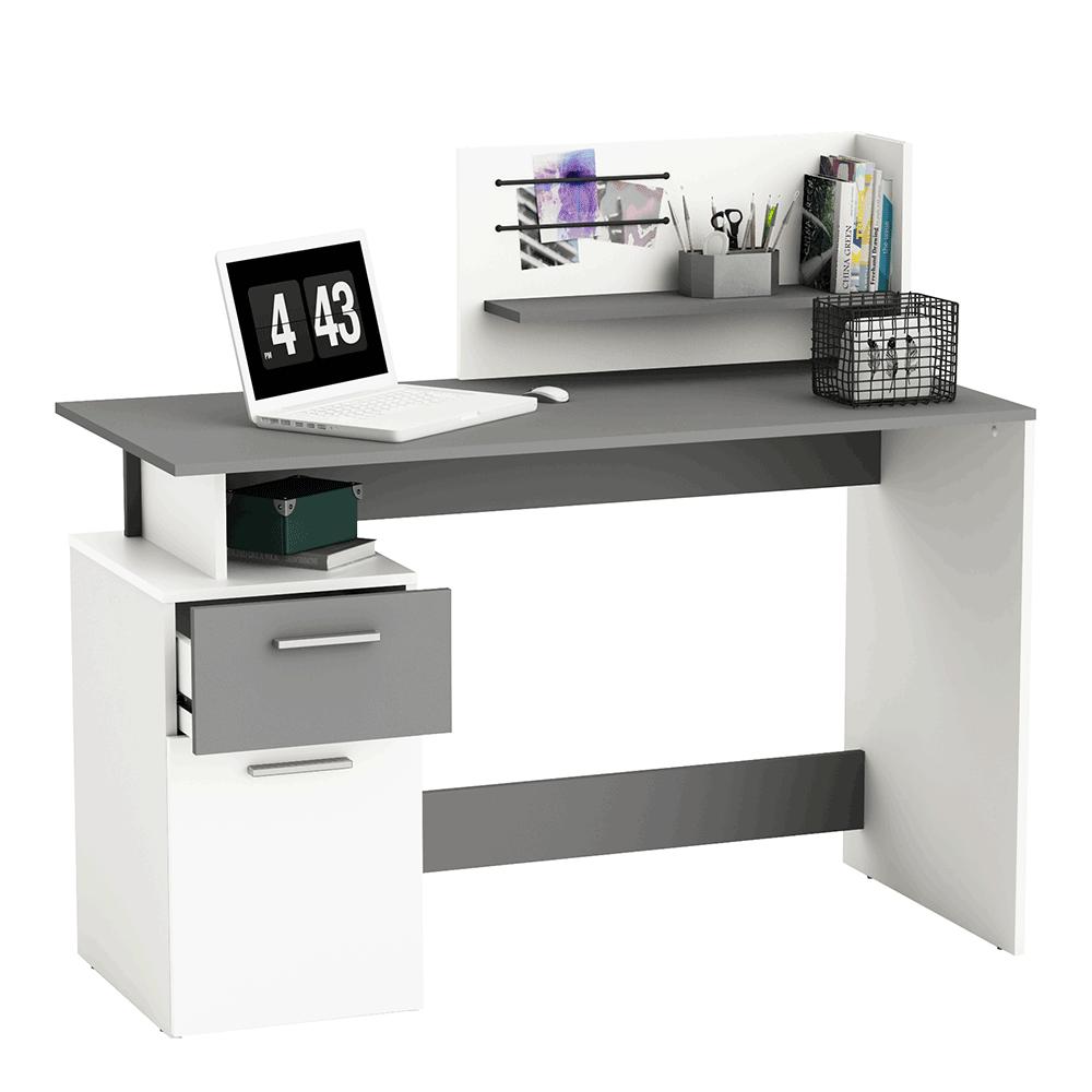 PC stôl, biela/tmavosivá, PLATON