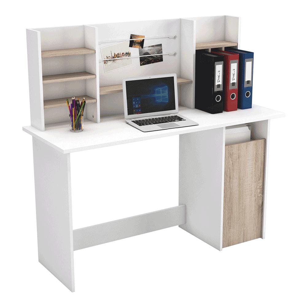 PC stôl, dub brushed/biela, AMBRE