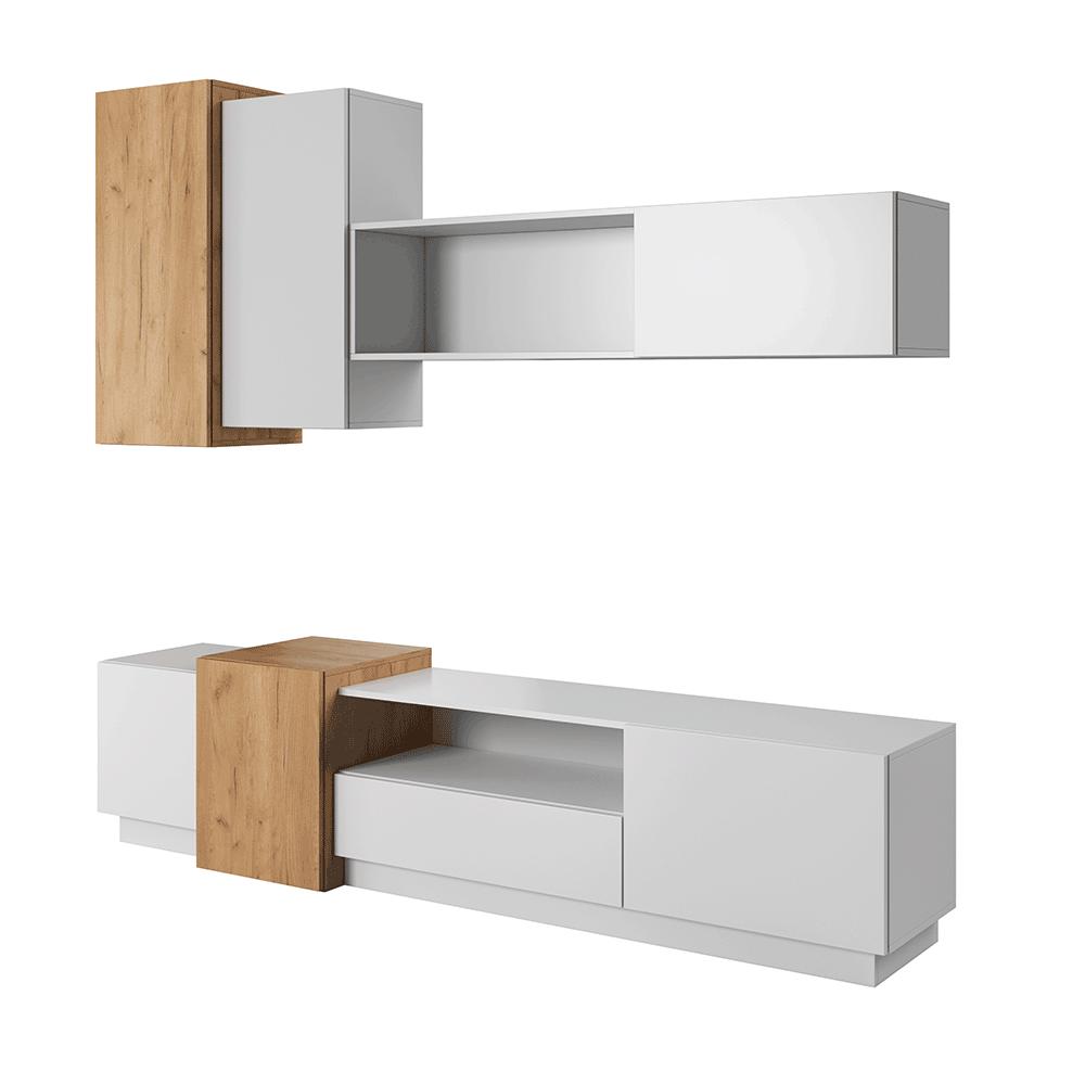 Obývacia stena, biela/dub craft zlatý, TRIO