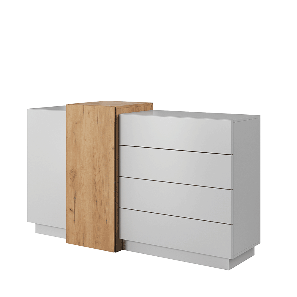 Comodă 2D4S, alb / stejar craft auriu, TRIO