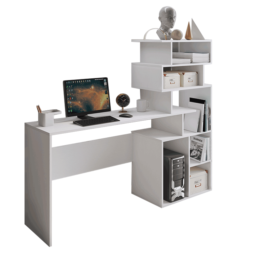 PC stôl, biela, MAXIM