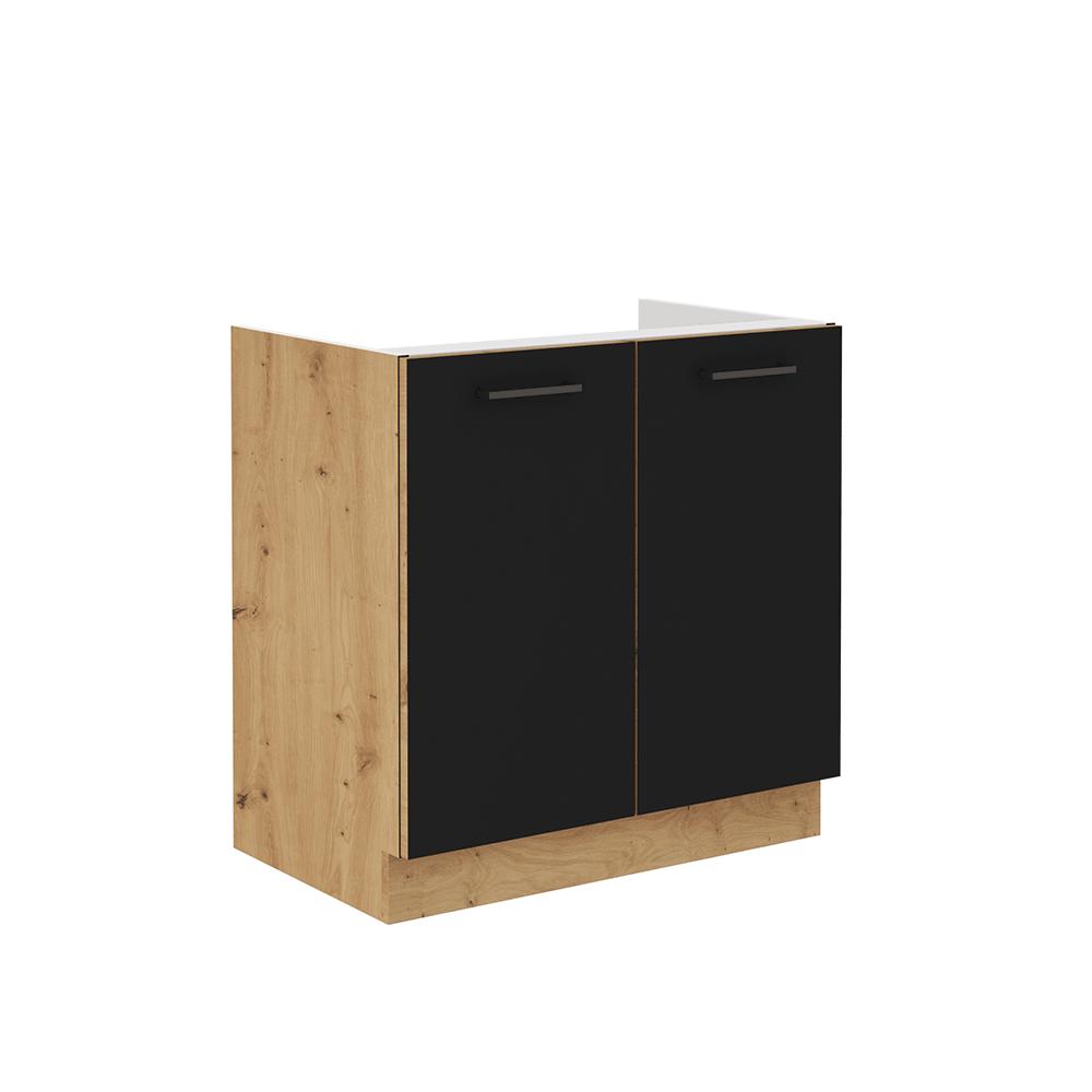 Spodná drezová skrinka, čierny mat/dub artisan, MONRO 80ZL 2F BB