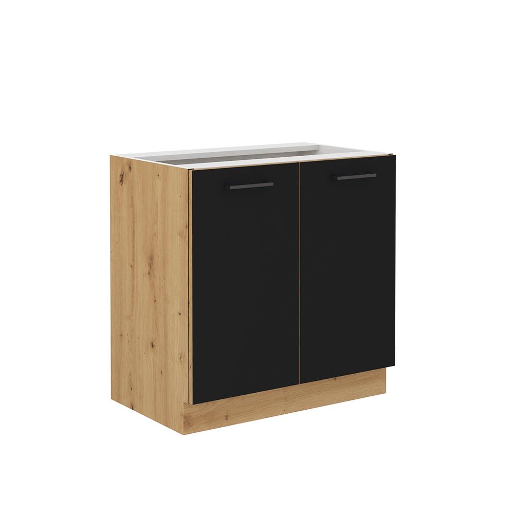 Spodná kuchynská skrinka, čierny mat/dub artisan, MONRO 80 D 2F BB