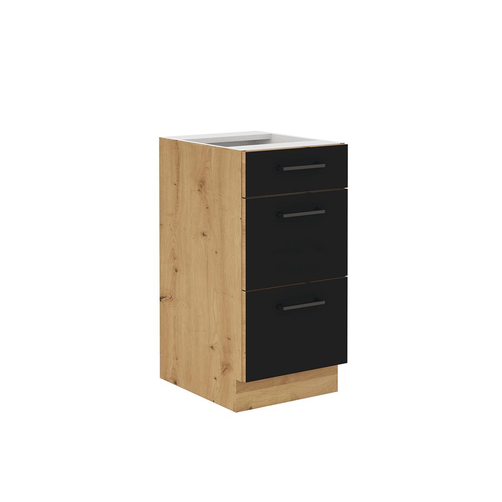Spodná skrinka so zásuvkami, čierny mat/dub artisan, MONRO 40 D 3S BB