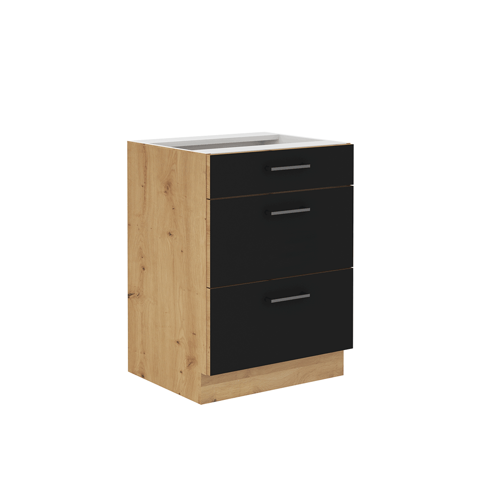 Spodná skrinka so zásuvkami, čierny mat/dub artisan, MONRO 60 D 3S BB