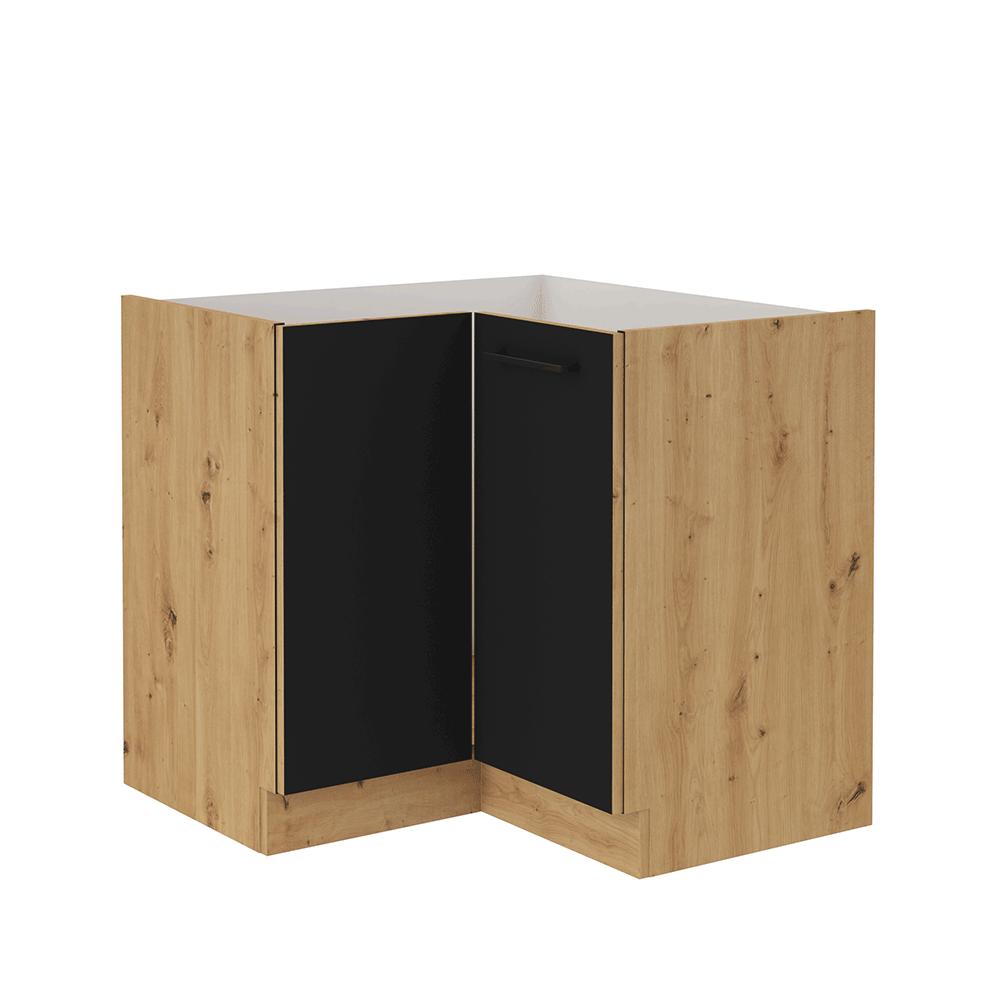 Spodná rohová skrinka, čierny mat/dub artisan, MONRO 90/90 DN 1F BB