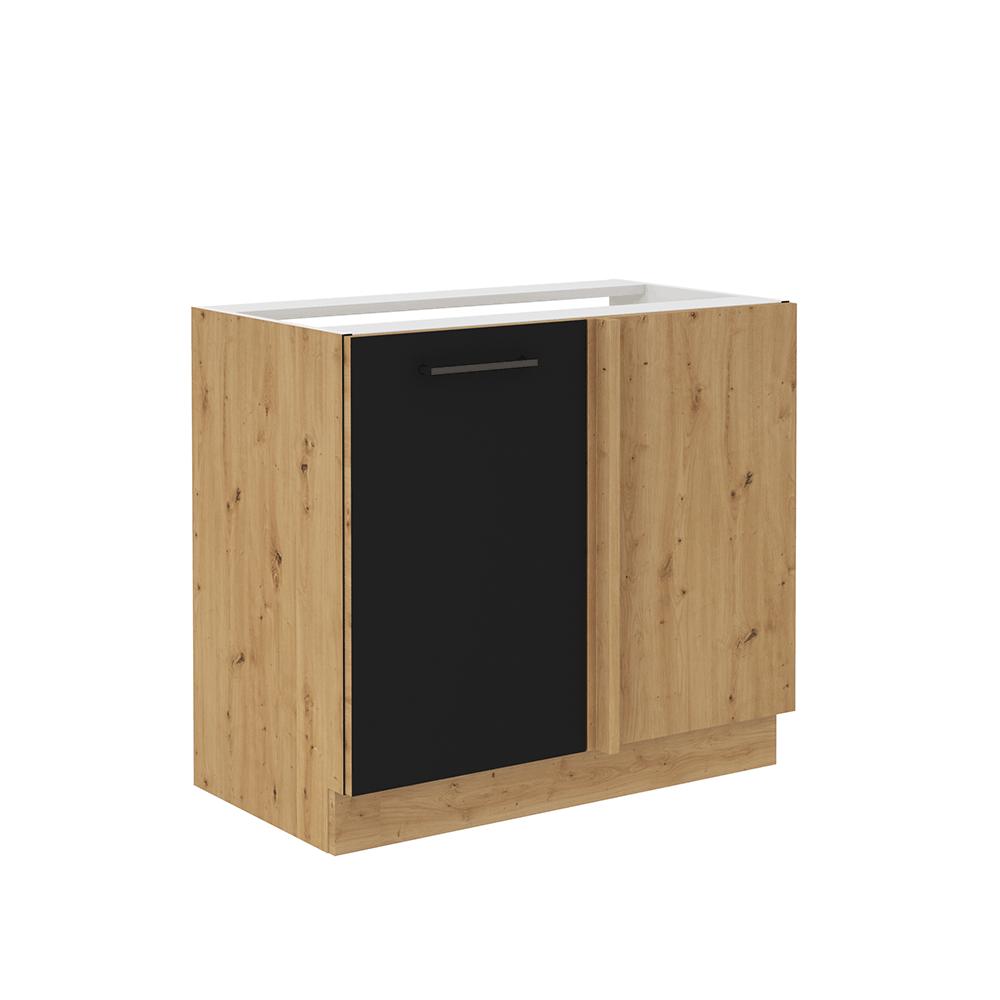 Spodná kuchynská skrinka, čierny mat/dub artisan, MONRO 105 ND 1FFBB