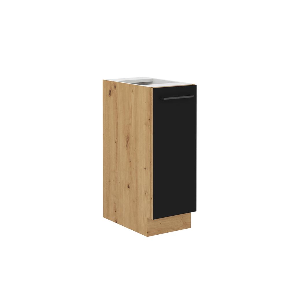 Spodná skrinka s kovovým košíkom, čierny mat/dub artisan, MONRO 30 D CARGO