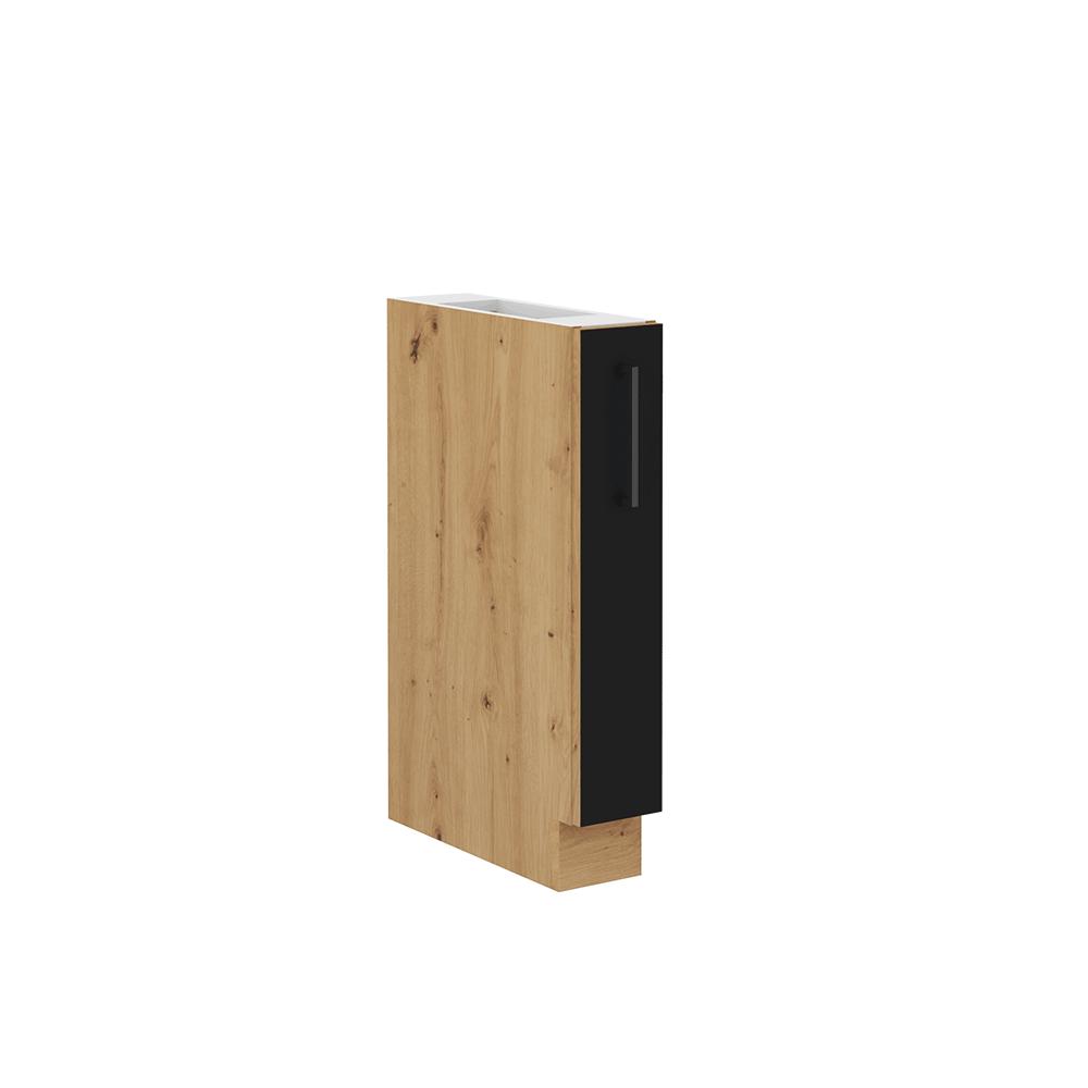 Spodná skrinka s kovovým košíkom, čierny mat/dub artisan, MONRO 15 D CARGO