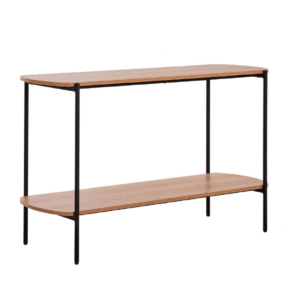 Konzolový stolík v industriálnom štýle, akácia/čierna, HOLAR