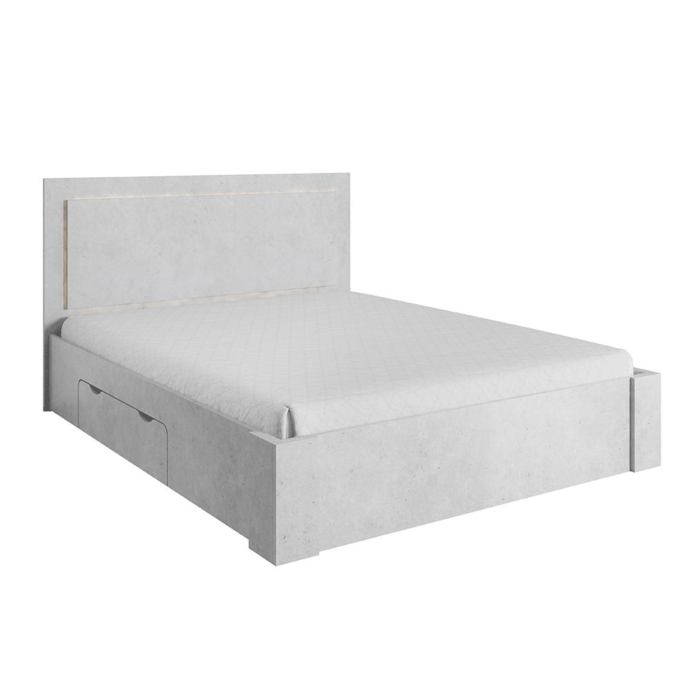 Manželská posteľ 160x200cm, úložný priestor, sivý betón, ALDEN