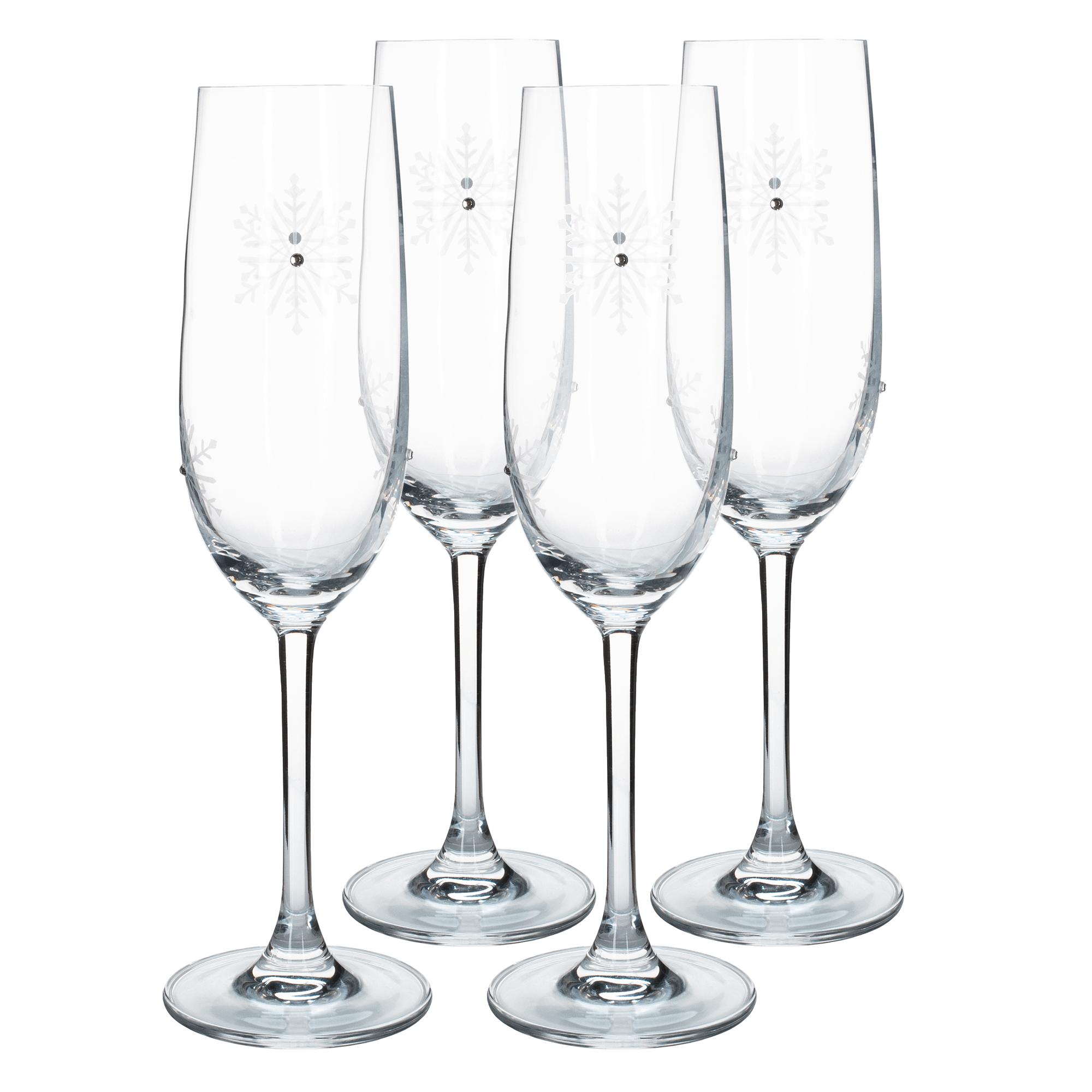 Pahare de șampanie, set de 4, 230 ml, transparent / alb, SNOWFLAKE CHAMPAGNE