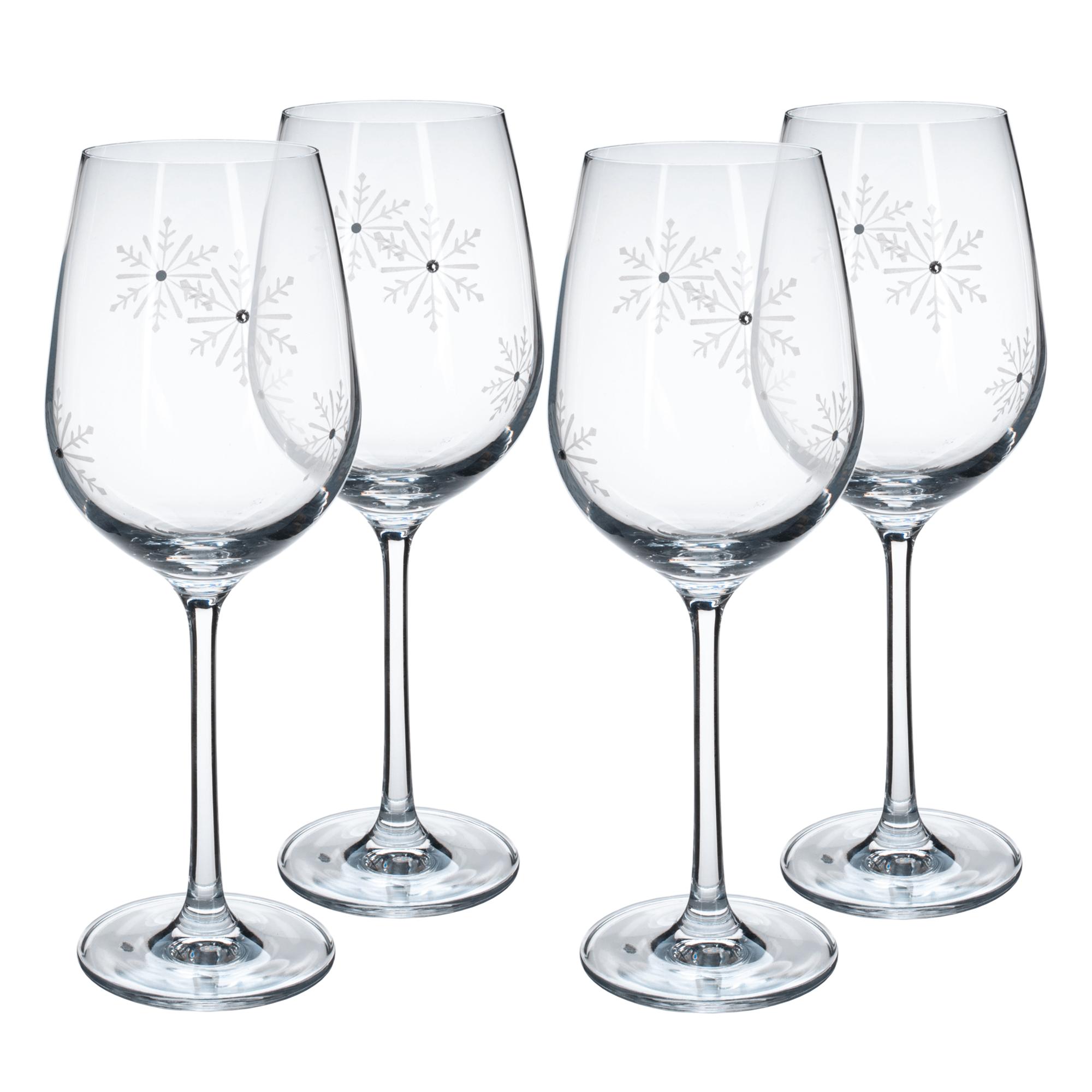 Pahare de vin, set de 4, 450 ml, transparent / alb, SNOWFLAKE VINO