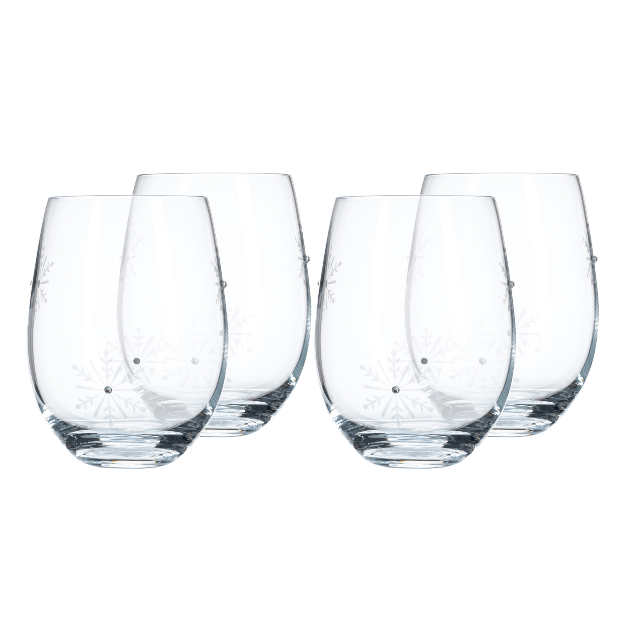 Pahare, set de 4, 530 ml, transparent / alb, SNOWFLAKE STRIK
