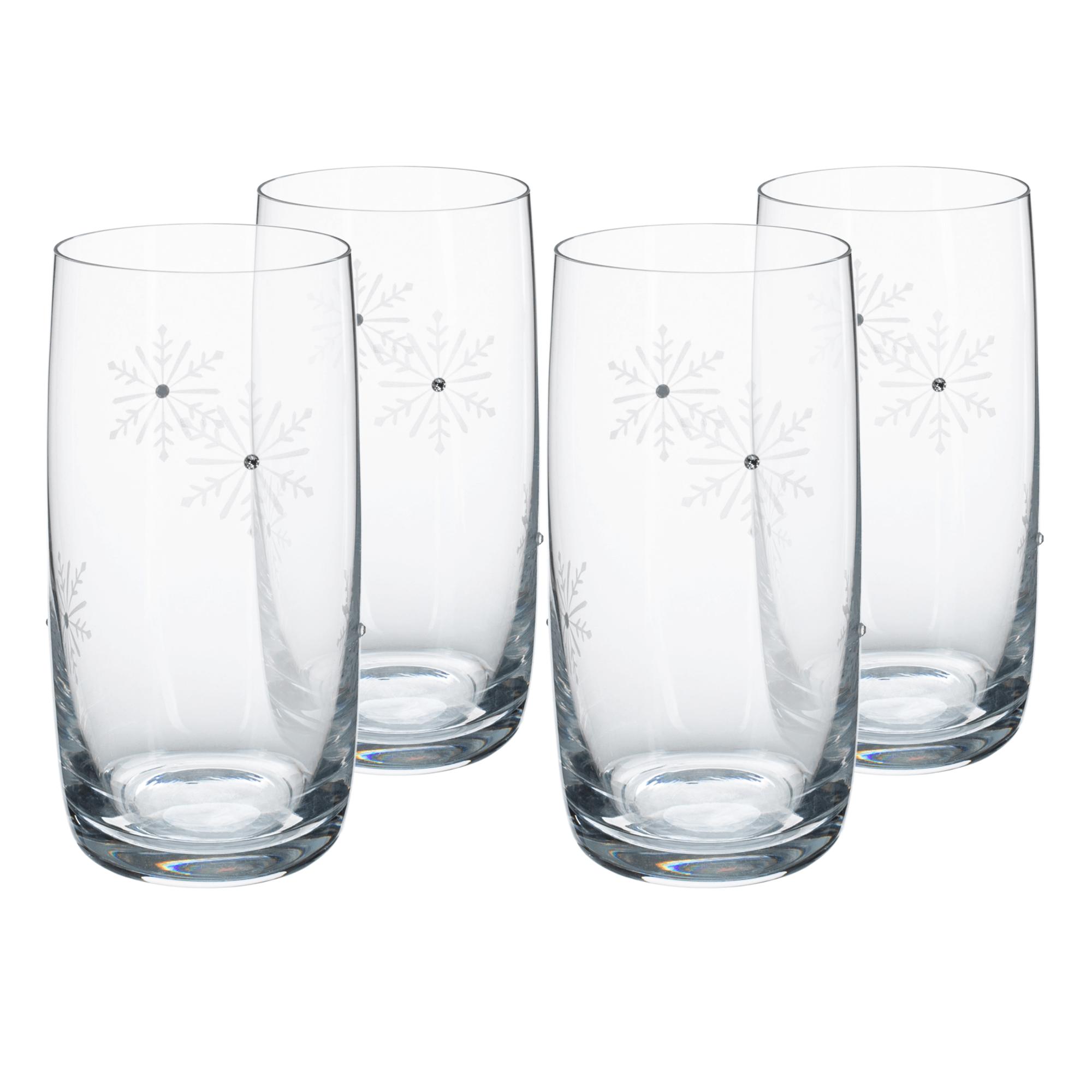 Pahare de apă, set de 4, 460 ml, transparent / alb, SNOWFLAKE DRINK