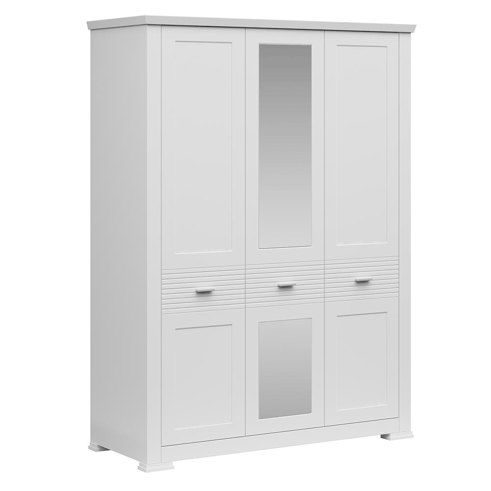 Dulap cu trei uşi cu oglindă, alb, ARYAN 3D