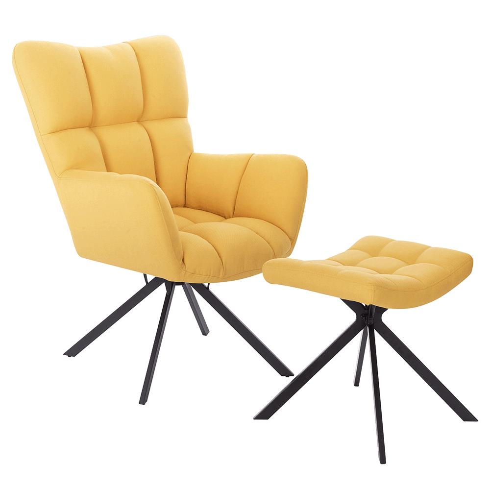 Dizajnové otočné kreslo s podnožou, žltá/čierna, KOMODO TYP 2