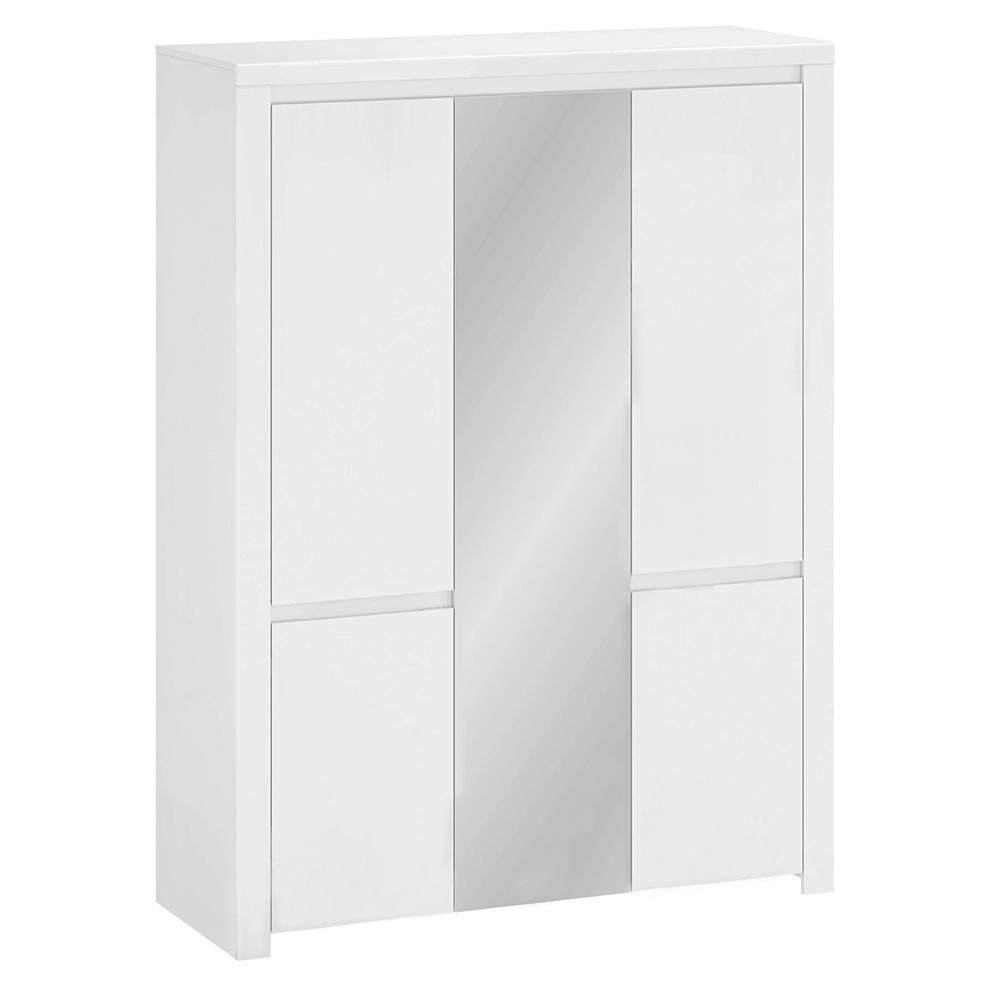 Dulap 5D cu oglindă, alb lucios, LINDY