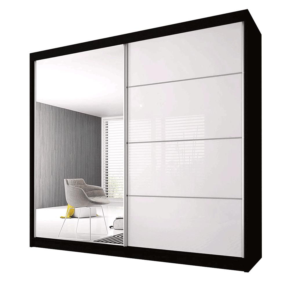 Skříň s posuvnými dveřmi, černá / bílá, 203x61x218, MULTI 35, TEMPO KONDELA