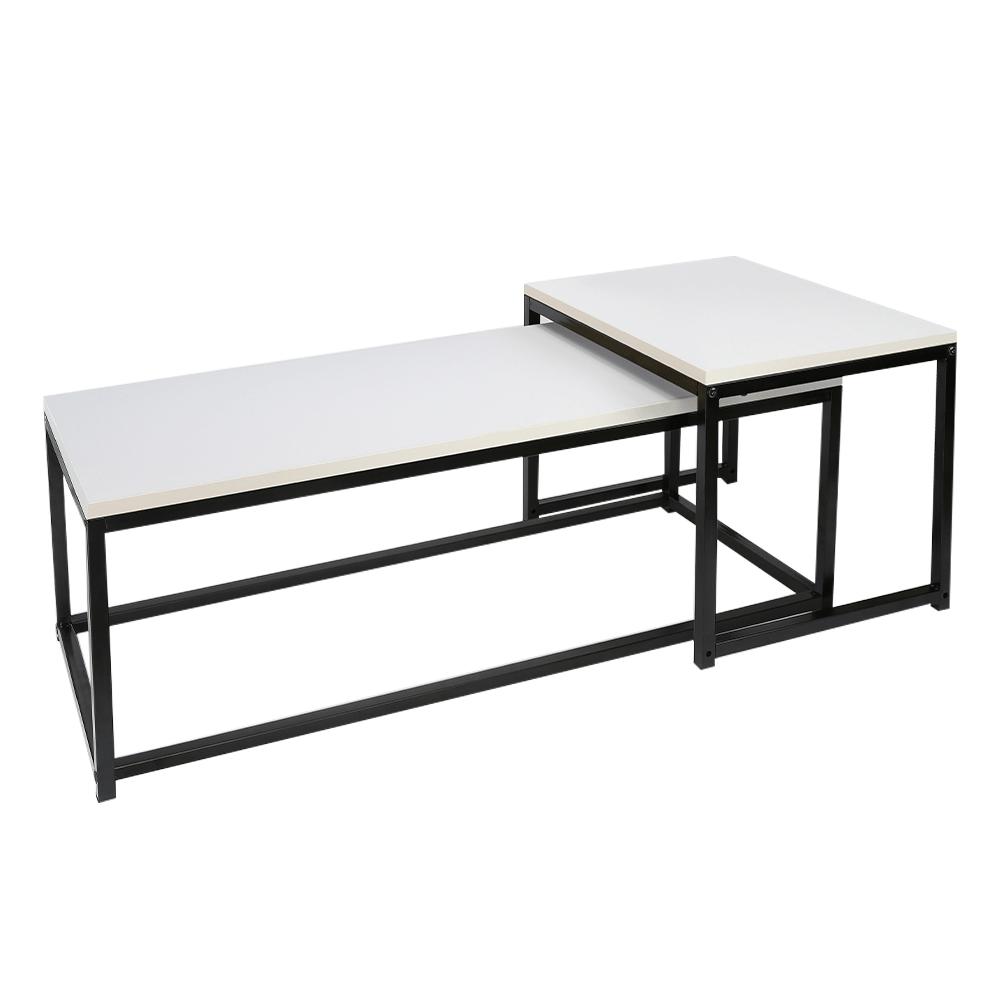 Konferenčné stolíky, set 2 ks, matná biela/čierna, KASTLER NEW TYP 2
